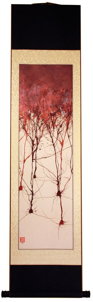 LOVE!: Striking paintings combine Japanese watercolor with the structures of the brain