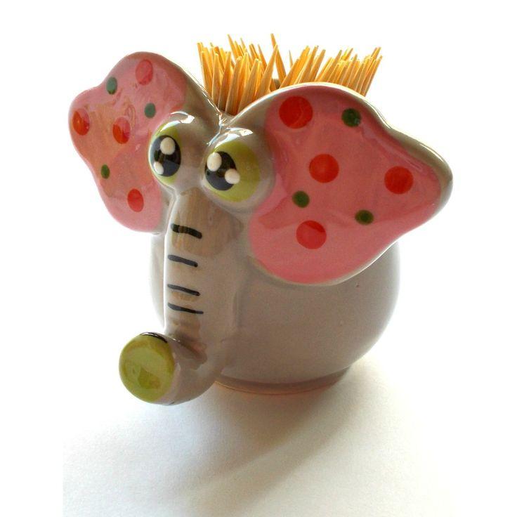 Suport decorativ pentru scobitori, in forma de elefant de culoare gri.