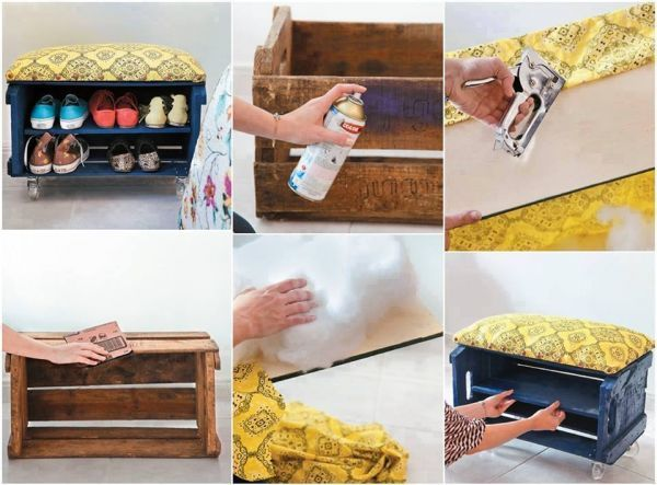 Cajón de feria reciclado como banqueta móvil y zapatero