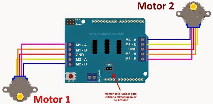 Circuito Arduino Motor de passo 28BYJ-48 e Motor Shield