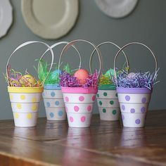 Polka Dot Easter Treat Cup Craft | Fill your Easter with creative inspiration by making little Easter crafts that look like mini Easter baskets.