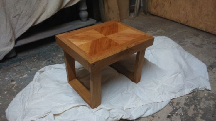 "Oak & Pecan lamp stand table, to match a longer coffee table already crafted for the clients.  18"" long, 14"" wide, 14"" high."