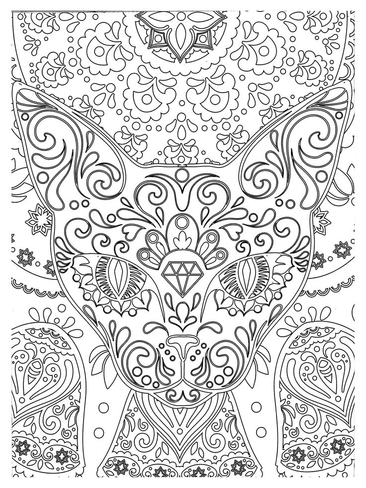 Free Coloring Page Zen Abstract Cat Head Doodle