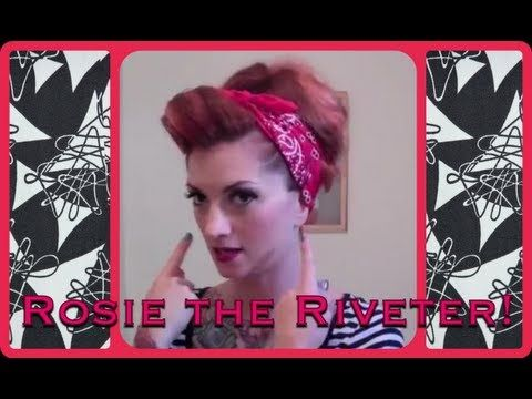 """▶ Vintage Hair Tutorial pinup bandana updo """"Rosie the Riveter"""" by CHERRY DOLLFACE - YouTube LOVE THIS VIDEO! Helped me with doing the barrel role!"""
