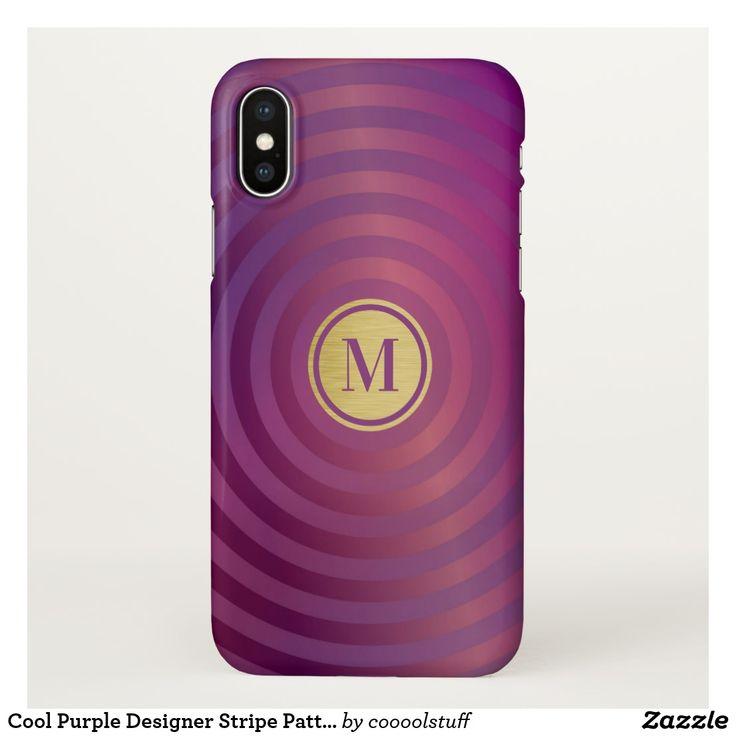 Cool Purple Designer Stripe Pattern Gold Monogram iPhone X Case