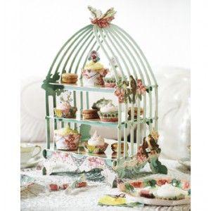 Vogelkooi standaard voor taart en cake - Blauw