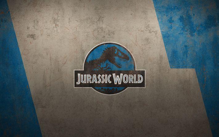 Download imagens 4k, Mundo Jurássico, grunge, logo