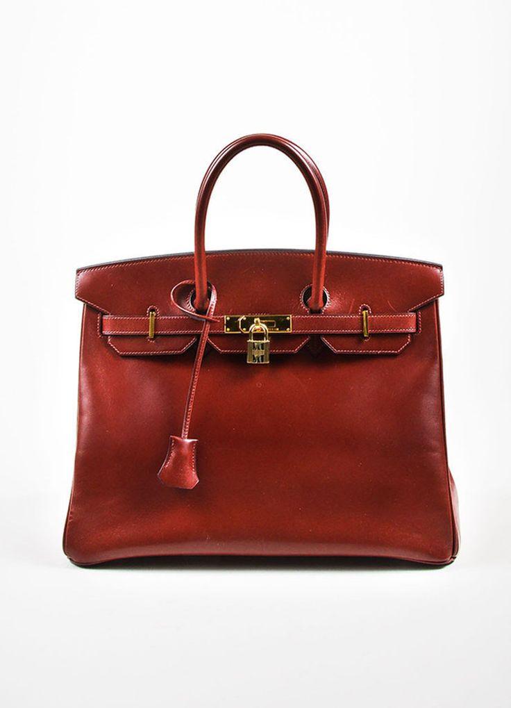 hermes oxblood red box calf leather 35cm birkin handbag