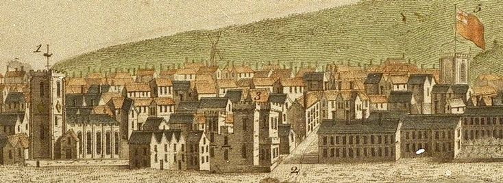 Detail from Buck's View of Liverpool - 1728. 1 = St Nicholas Church, 2 = Water St, 3 = The Old Tower, 5 = the Exchange (today the site of the Town Hall)