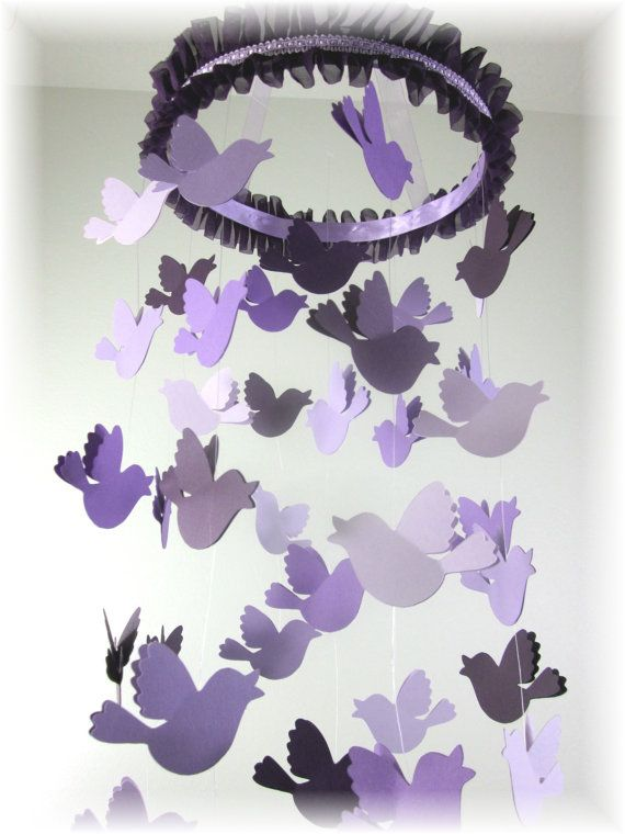 Song Bird Lavender Mobile Lavender Nursery Decor By Lovebirdslane