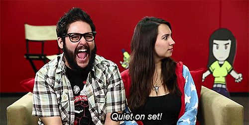 Steve Zaragoza and Trisha Hershberger on set at SourceFed Nerd.