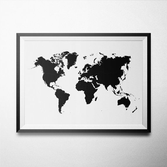 black white 74 simple world map black white poster world mpa art large print map poster. Black Bedroom Furniture Sets. Home Design Ideas