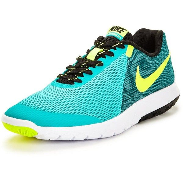Nike Flex Experience Run 5 Shoe (119 820 LBP) ❤ liked on Polyvore featuring shoes, athletic shoes, flat shoes, green athletic shoes, cushioned running shoes, mesh running shoes and flat pumps