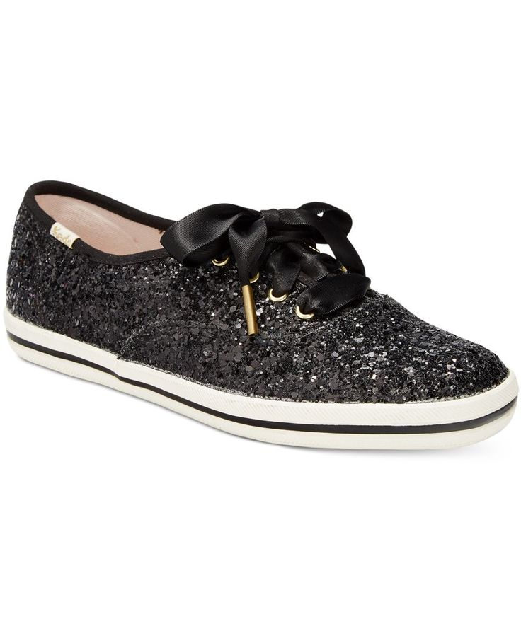 A classic goes glam in these Glitter sneakers from Keds for kate spade new york with a striped platform and allover glitter for striking sparkle.   Glitter fabric upper; manmade sole   Imported   Almo