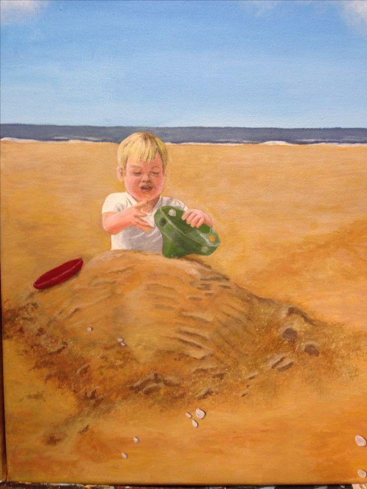 Spelen op het strand. Deel 3 van een drieluik