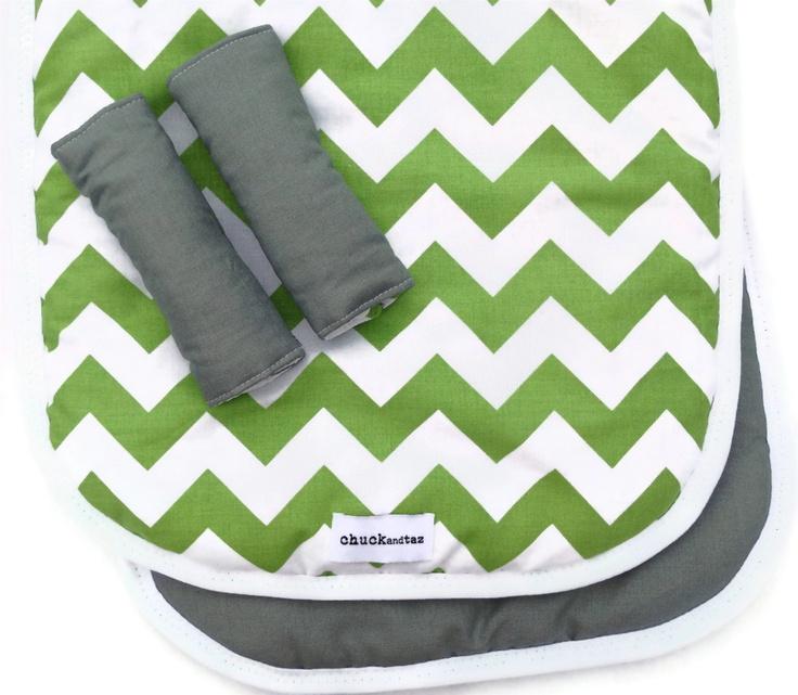 Reversible Pram/Stroller Liner Green Chevron
