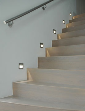 Lights on stairs to basement.