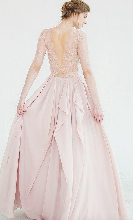Gorgeous lace back pink wedding dress; Featured Dress: CarouselFashion