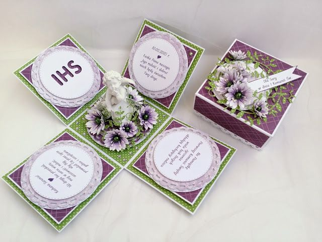 Papierowe chwile zielonejliszki, Purple/green exploding box with little angel and paper flowers