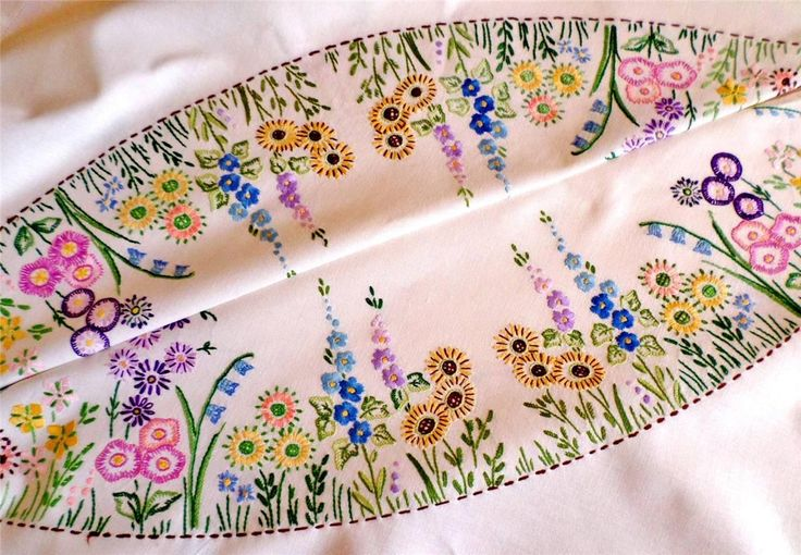 VINTAGE Linen COUNTRY GARDEN BORDER Tablecloth HAND EMBROIDERED Floral HOLLYHOCK | eBay