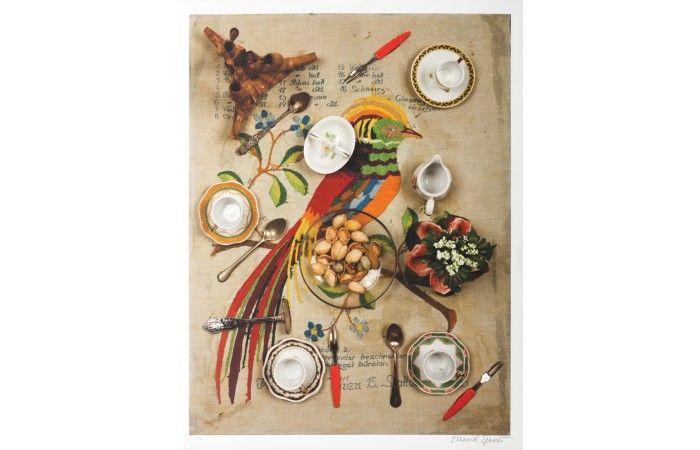 LOT 34  DANIEL SPOERRI Eaten [2014] Giclée on hand made cotton paper 70.5 × 55 cm (27.8 × 21.7 inch) Estimate €400 - €600  #lavacow #contemporary #art #spoerri