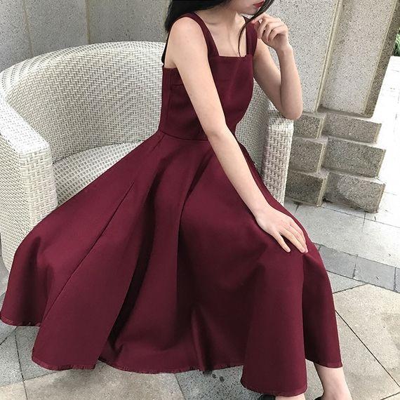 2017 여름 OL 기질 민소매 레드 와인 브라가 큰 허리 드레스 섹시한 슬링 여성의 긴 섹션에 넣어 단어