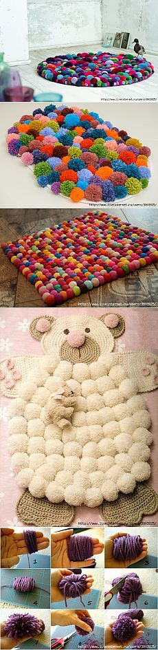Mat pompons: original and simple decoration of your interior.  Discussion on LiveInternet - Russian Service Online Diaries