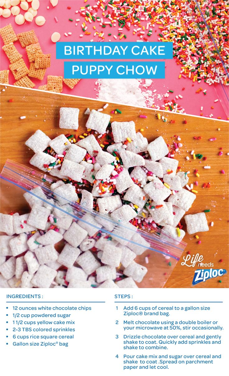 A new take on puppy chow, muddy buddies, or sweet snack mix. Whatever you call it, you'll want to make a double batch of this birthday cake-flavored dessert. It's a simple mix of cake batter, melted white chocolate, sprinkles, and rice cereal. Just mix in a Ziploc® bag and shake!