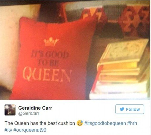 Viewers were quick to pick up on just one of the heart-warming moments in a documentary about the Queen, spotting a humorous cushion in Her Majesty's living room at Balmoral which read: 'It's good to be Queen!'