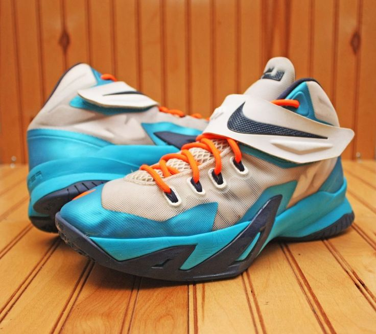Nike  Lebron Soldier VIII 8 Size 6Y - White Navy Blue Orange - 653645 102  #Nike #BasketballShoes
