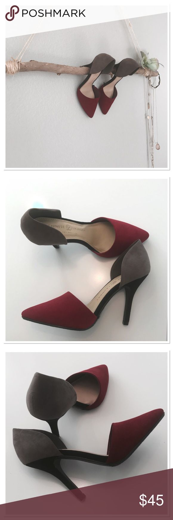 NWOB Chinese Laundry two tone heels Absolutely stunning! Wish those would fit me. Beautiful light burgundy and taupe . Black 4 in heel. Chinese Laundry Shoes Heels