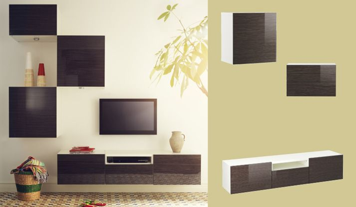 BESTÅ wall cabinets and wall-mounted TV bench in brown high-gloss with bamboo pattern