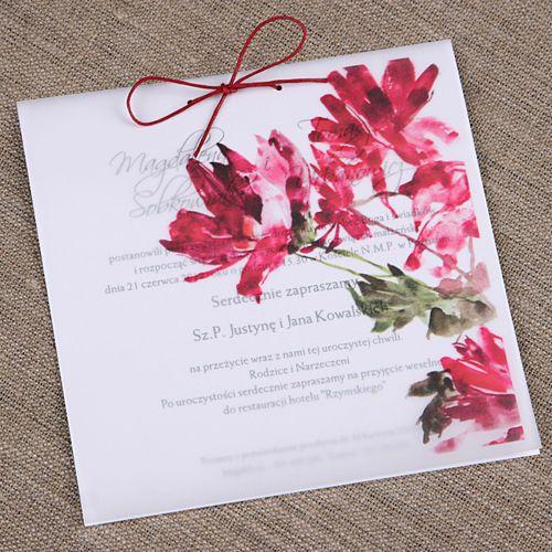 Zaproszenie ślubne na kalce 15x15 cm - glamour I | Zaproszenia Ślubne \ kolekcja kalka Zaproszenia Ślubne \ według rodzaju \ ręcznie robione Zaproszenia Ślubne \ według rodzaju \ oryginalne Zaproszenia Ślubne | studio Brzoza