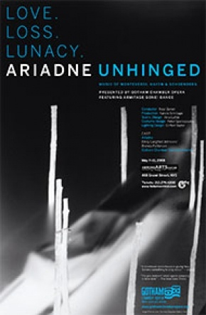 Renowned German photographer Vera Lutter contributed her artwork for the poster of the Gotham Chamber Opera's production of Ariadne Unhinged.