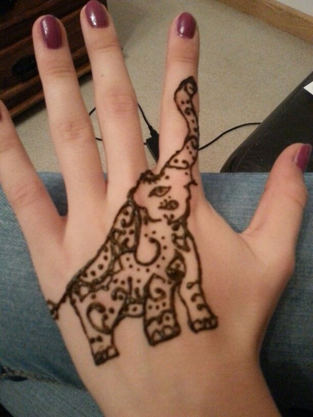 Classic Henna Elephant Trunk Up Tattoo On Left Hand