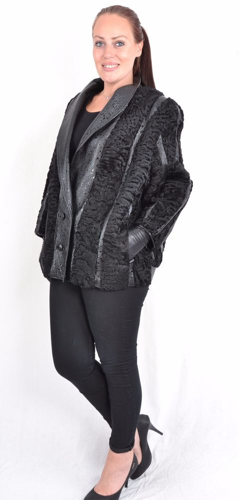 US142 Black Persian lamb Fur Jacket Leather coat no mink Piel Pelzjacke ~ 2XL/22 #Handmade #BasicJacket