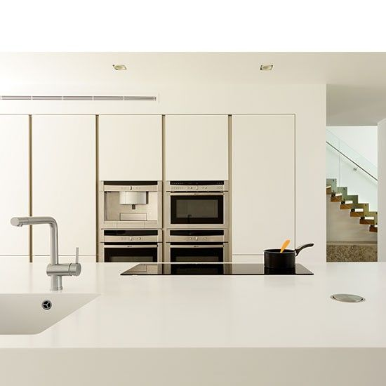 Modern white handleless kitchen | Kitchen designs | bespoke kitchens | Beautiful Kitchens | Housetohome