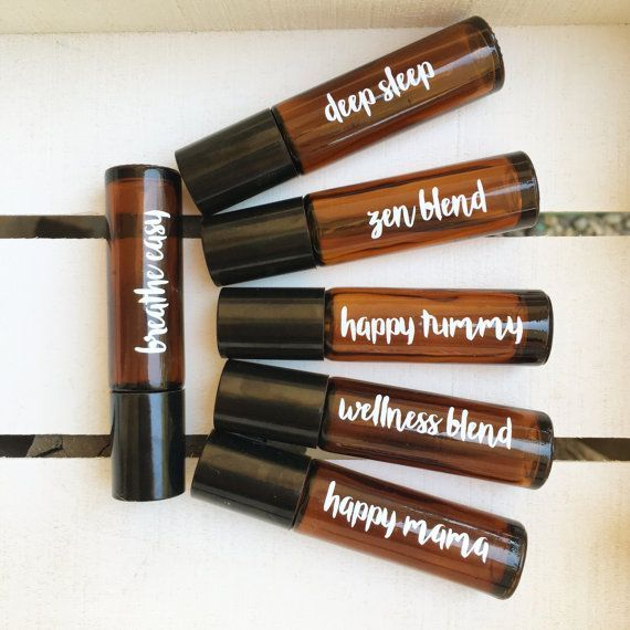 Vinyl Decals for glass 10ml roller bottles -Easy to apply  -Pick 6 from my suggested blend names or send me your own  happy mama wellness blend deep sleep happy tummy breathe easy get it, girl skin soothe zen blend homework helper focus blend