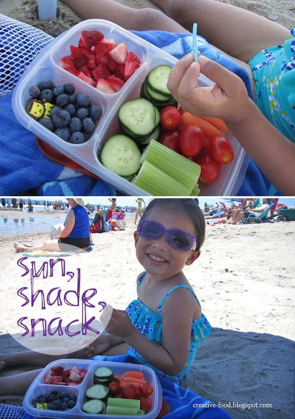 Michelle of Creative Food brings healthy snacks packed in EasyLunchboxes for a day at the beach