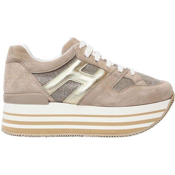 Hogan Women 70mm Maxi 222 Suede & Glitter Sneakers (€445) ❤ liked ...