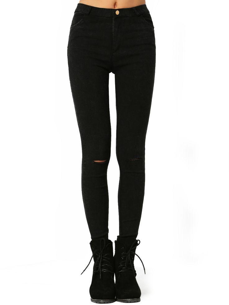 Shop Black Skinny Ripped Denim Pant online. SheIn offers Black Skinny Ripped…