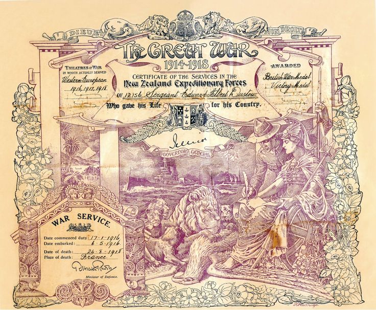 12156 Sergeant Edward Albert Dustow NZEF Killed Bapaume 24 Aug 1918 Certificate of Service.jpg (4142×3416)