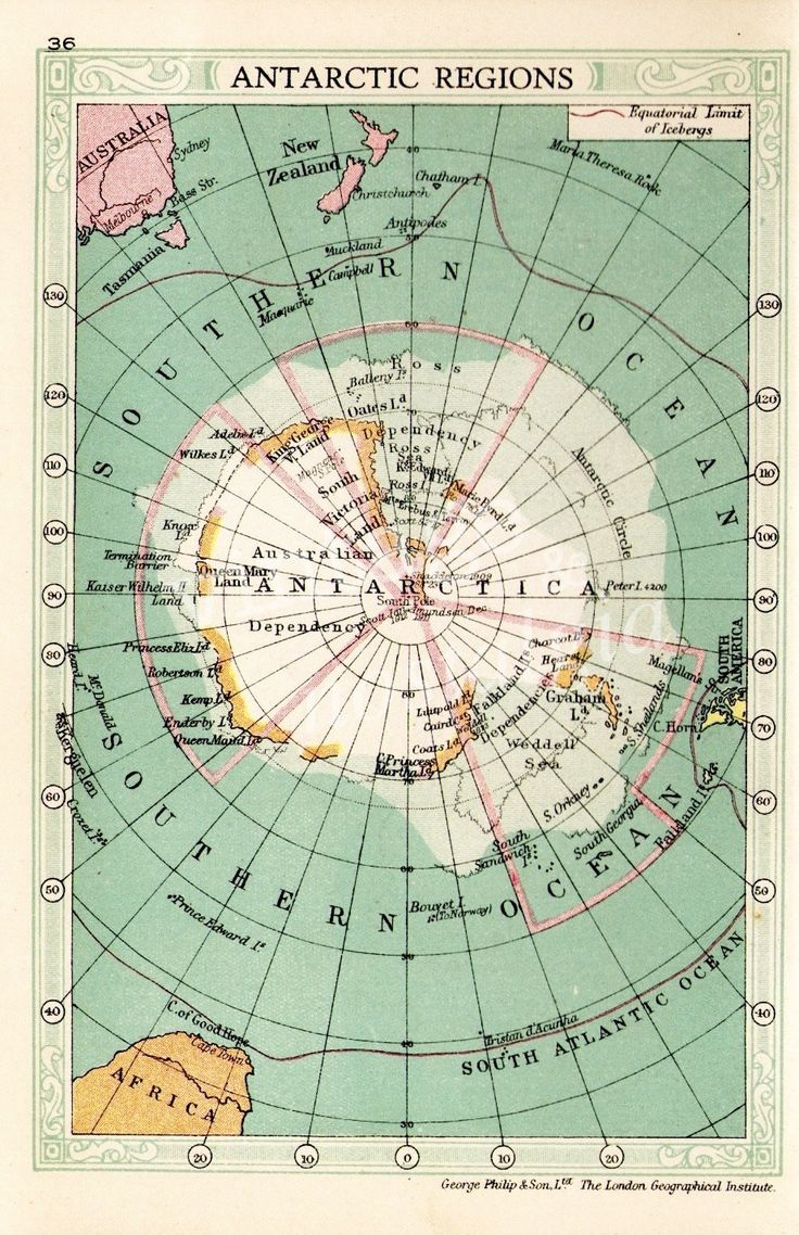 1935 ANTARCTICA map, South Pole vintage atlas map, travel decor, map decor