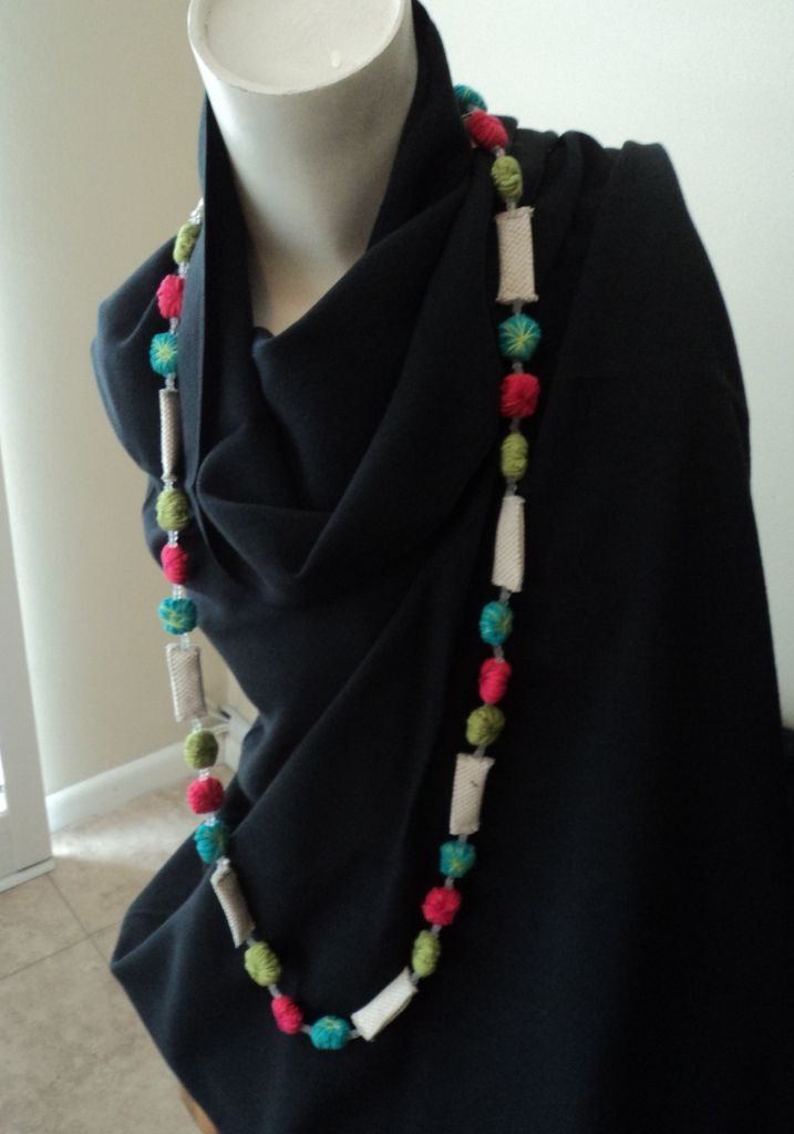 Handmade Eco necklace on handwoven black 100% bamboo shawl. available from www.annmack.co.za