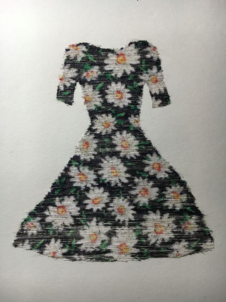 Vestidos  Camila Lemoine  Dibujo con hilos de tela 2016 Drowing with fabric thread 2016