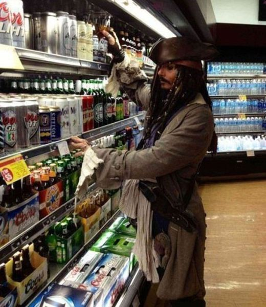 Jack Sparrow in the alcohol section. getting some rum?