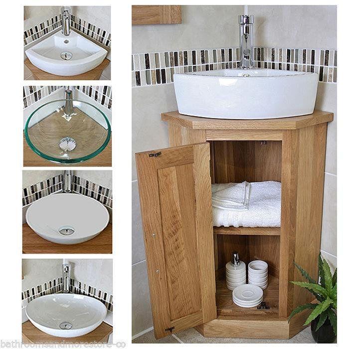 Bathroom Oak Vanity Unit Corner Oak Sink Cabinet Ceramic Etsy Diseño De Baños Modernos Diseño De Baños Chicos Diseño De Baños