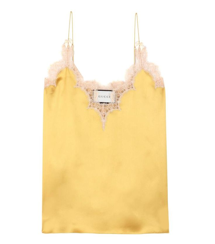 Gucci // Goldfarbenes Trägertop aus Seidensatin und Spitze