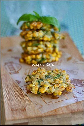 Wagon Cafe:コーンとバジルのフリッター(洋風かき揚げ)**Corn and basil fritters