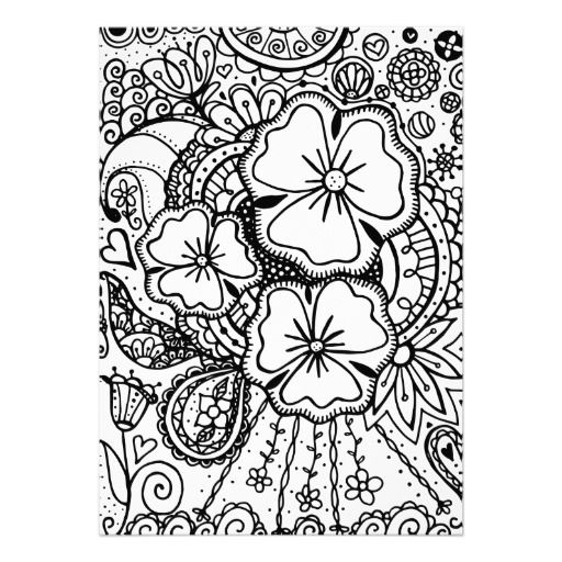 Zentangle Flowers Coloring Pages